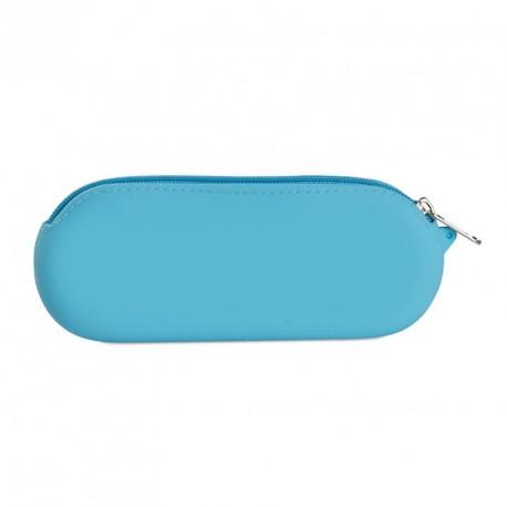 Trousse de toilette ou à crayons en silicone avec fermeture éclair brillante