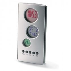 Pendule de bureau colorée avec calendrier et thermomètre personnalisable