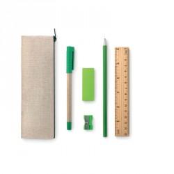 Trousse en jute et coton avec gomme, crayon à papier, stylo, règle, taille-crayon
