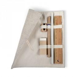 Set d'écriture dans un étui en jute et coton personnalisable