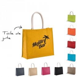 Sac de plage publicitaire en toile de jute colorée