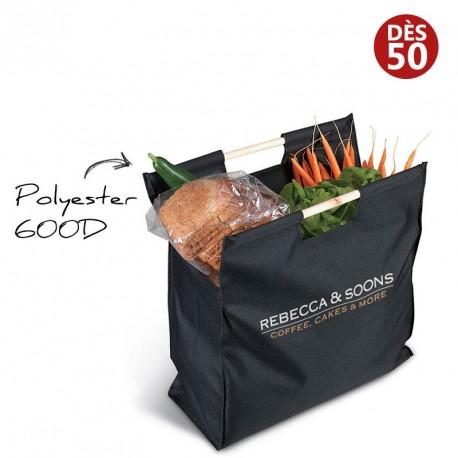 Grand sac shopping avec poignées en bois