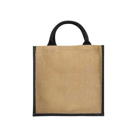 Grand sac bicolore publicitaire en toile de jute