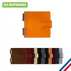 Carnet 15x15cm reliure bois - Cuir recycl