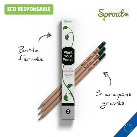 Boîte de 3 crayons à graines Sprout™ personnalisés