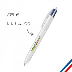 Stylo BIC® 4 couleurs blanc digital