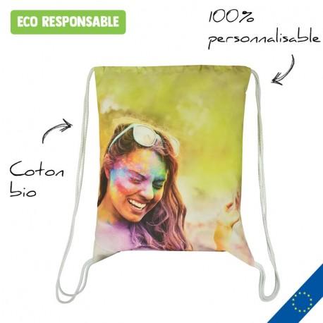 Sac à cordon en coton bio entièrement personnalisable