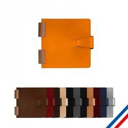 Carnet 15x15cm reliure bois - Cuir recyclé