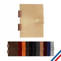 Carnet A5 reliure bois - Cuir recyclé