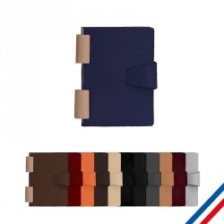 Carnet A6 reliure bois - Cuir recyclé