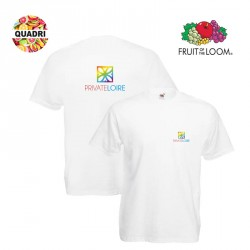 T-shirt blanc Fruit of the Loom personnalisé coeur et dos