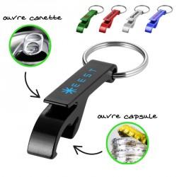 Porte-clés décapsuleur et ouvre canette aluminium personnalisé