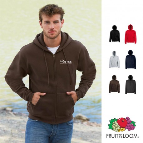 Sweat shirt homme zippé publicitaire Fruit of the Loom