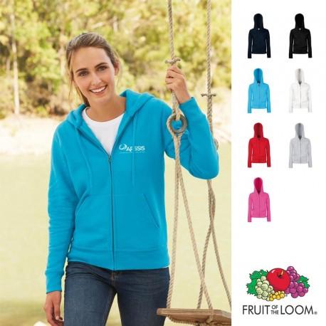 Sweat-shirt zippé femme Fruit of the Loom personnalisé