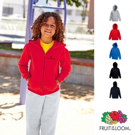 Sweat-shirt enfant zippé capuche Fruit of the Loom personnalisé